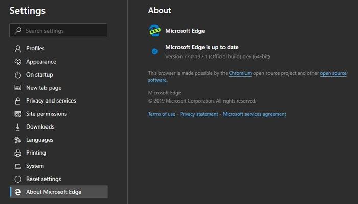[图]Edge Dev新版发布:改善Dark主题支持 修改钉选网站至桌面方式