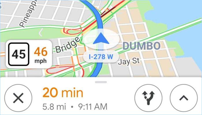 [图]Google Maps新增速度码表:超速时会发出提醒