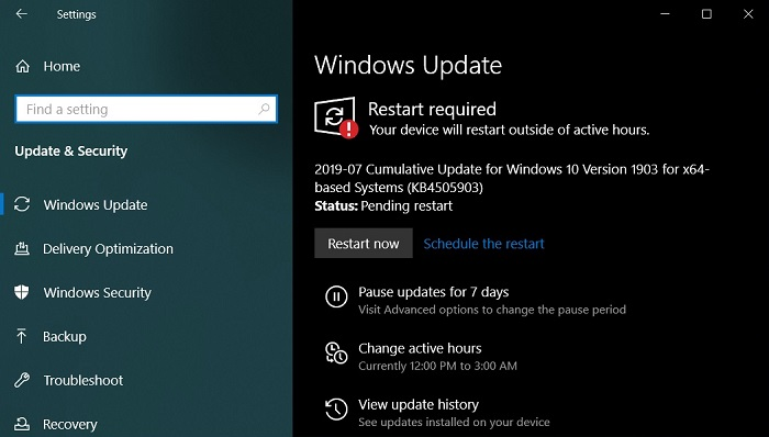 [技巧]如何手动下载和安装Windows 10 KB4505903累积更新