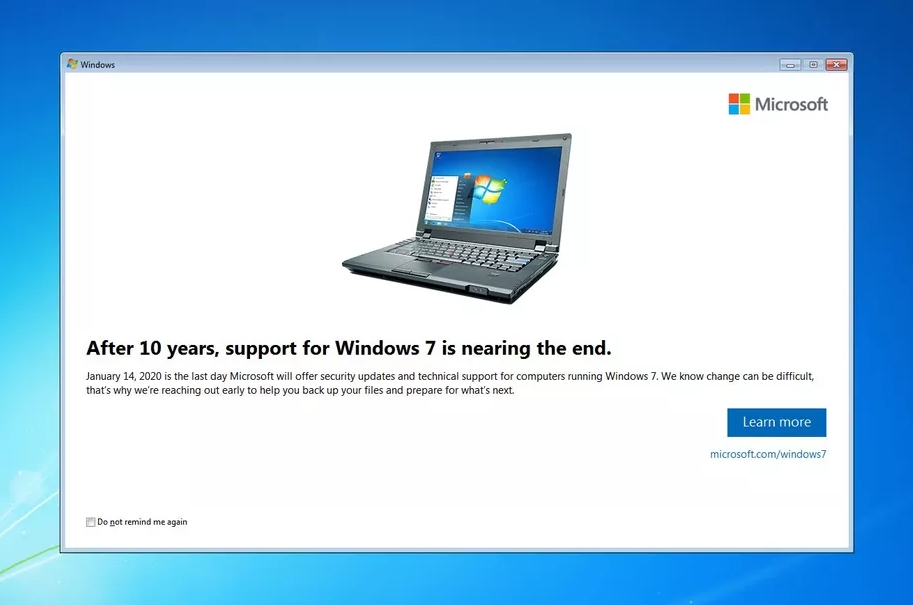 微软重新发布KB4493132更新 优化Windows 7 EOL到期警告