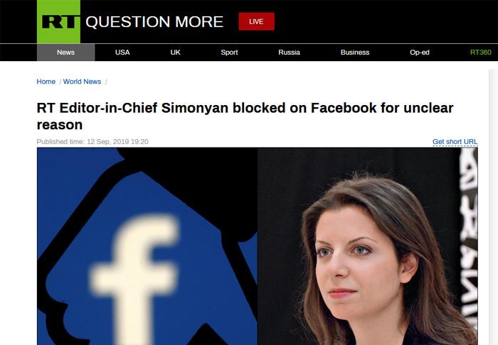 """脸书承认查封""""今日俄罗斯""""美女总编账号是一个错误 已解封账号并道歉"""