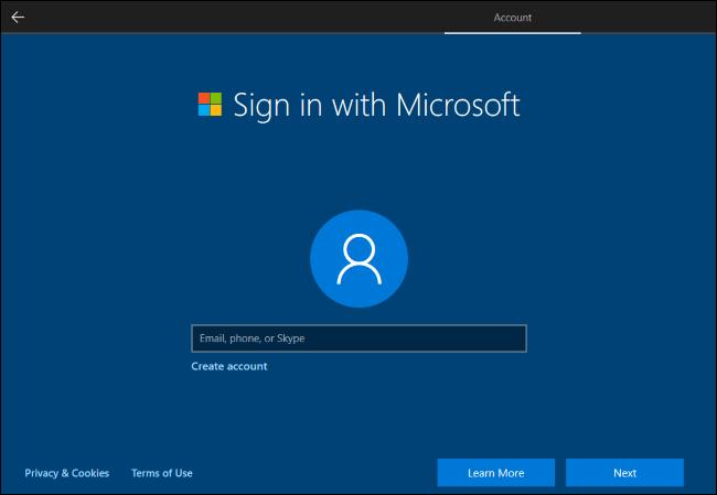 Windows 10家庭版安装过程不再允许创建本地账户 除非断开网络连接
