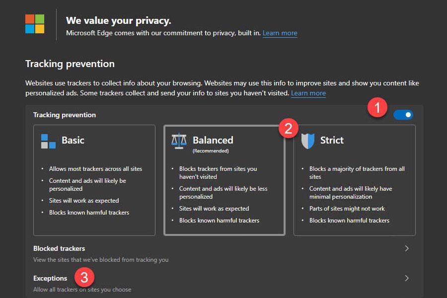 Chromium Edge 浏览器包含新的跟踪防御功能