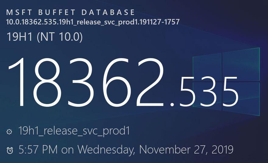 [图]12月补丁星期二:Windows 10 v1909升至Build 18363.535