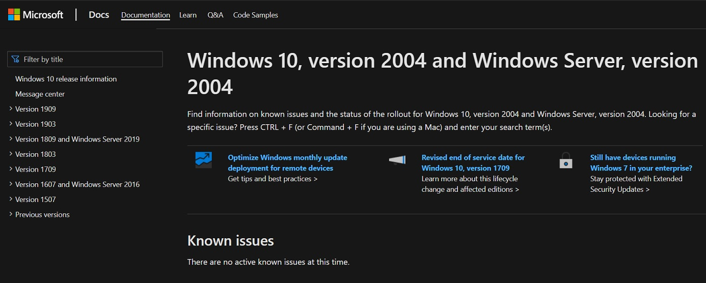 Windows-10-v2004-support-pages