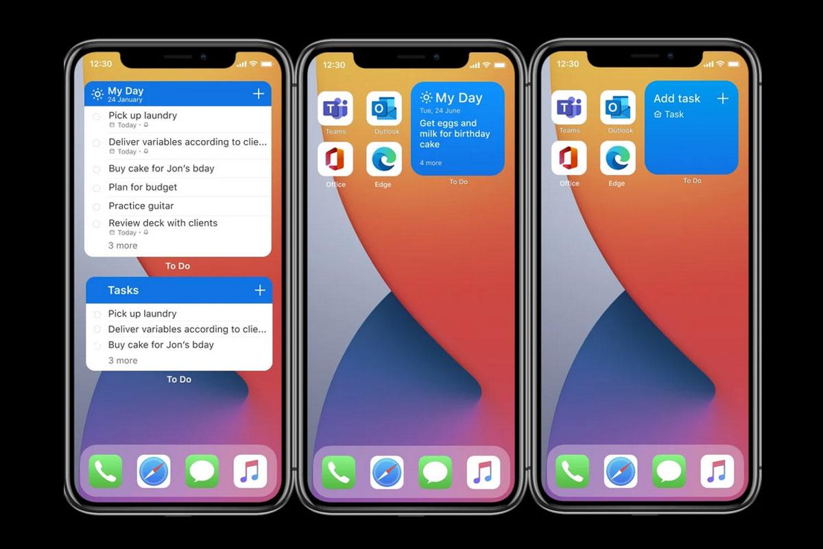 微软正式推出适用于苹果iOS 14设备上的待办事项小部件