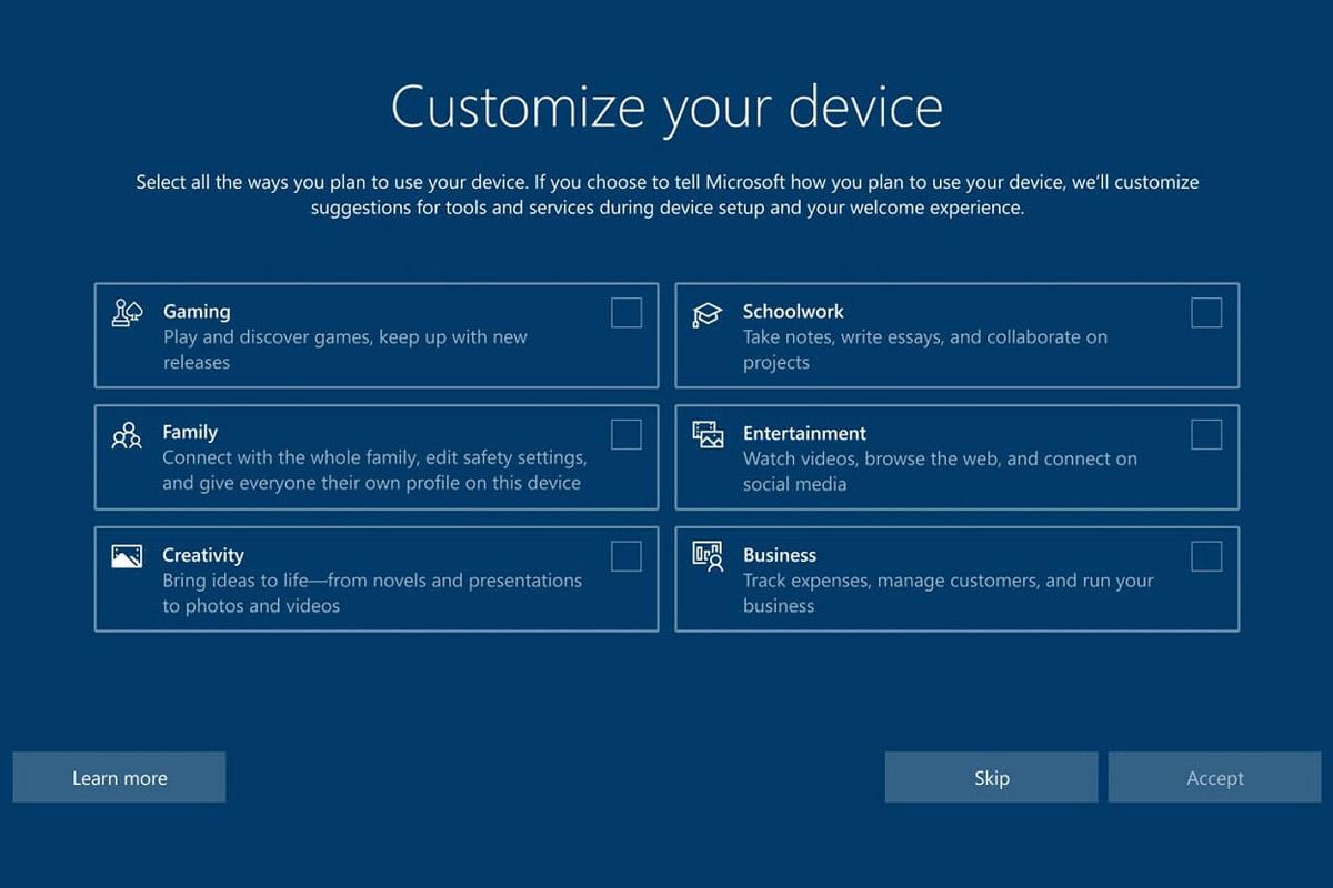 """Windows 10正在获取""""设备使用情况""""个性化设置"""