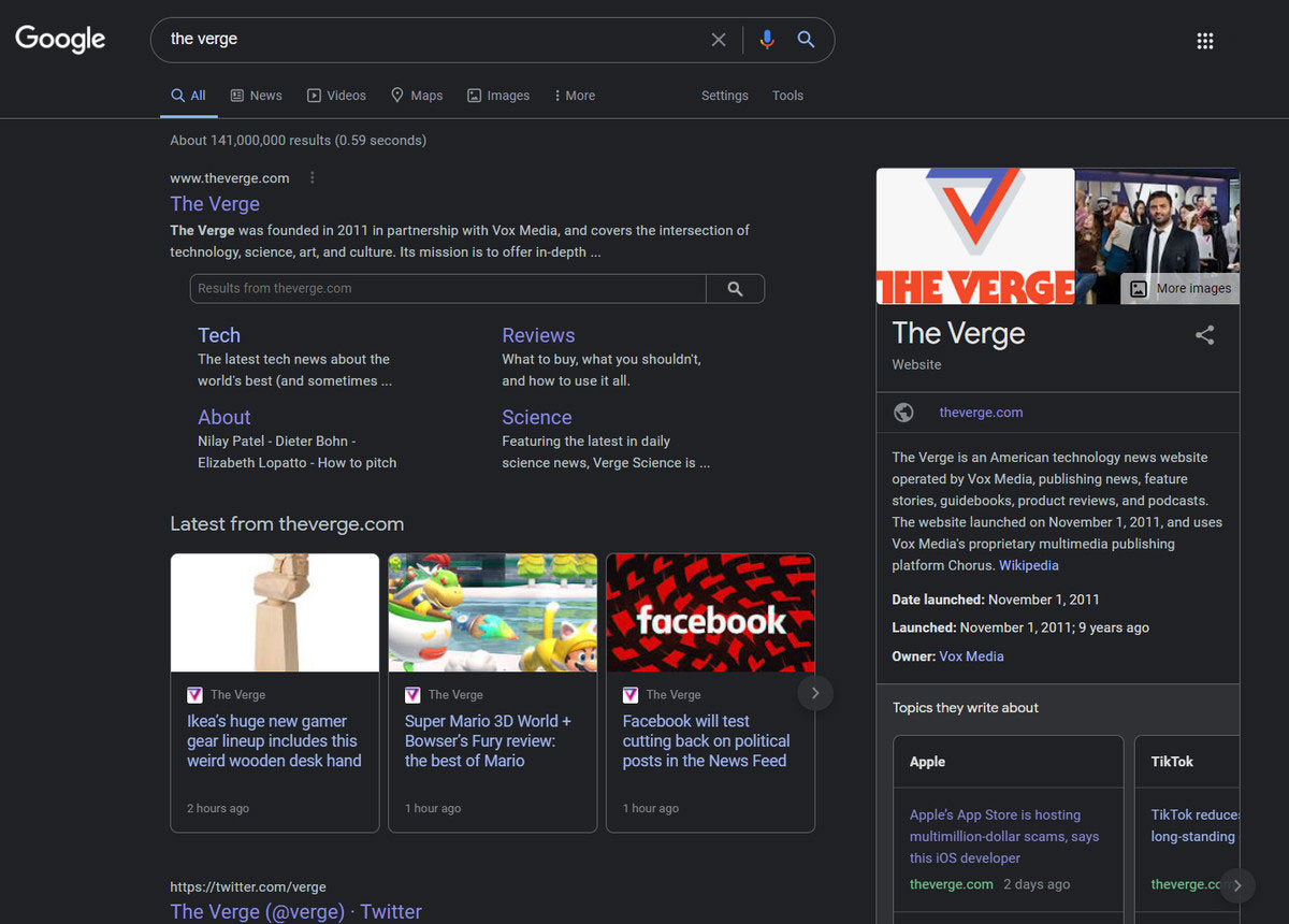 谷歌正在测试桌面搜索的黑暗模式